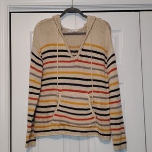 Lovestitch striped hooded popover sweatshirt med.